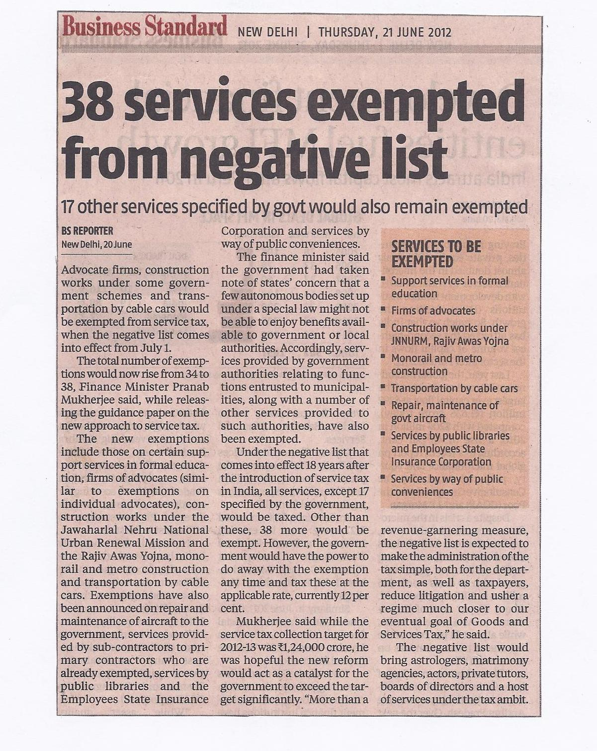 What is Not Service as Per Service Tax: Negative List Of Services
