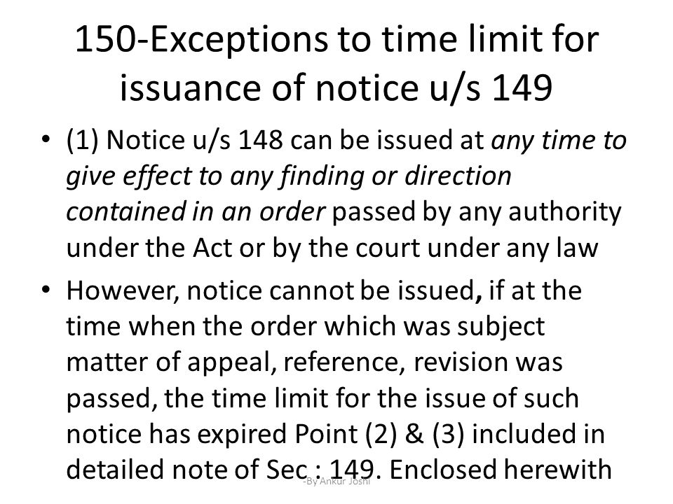 Notice u/s 148