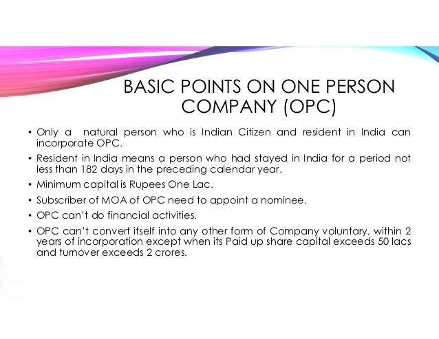 What is One Person Company