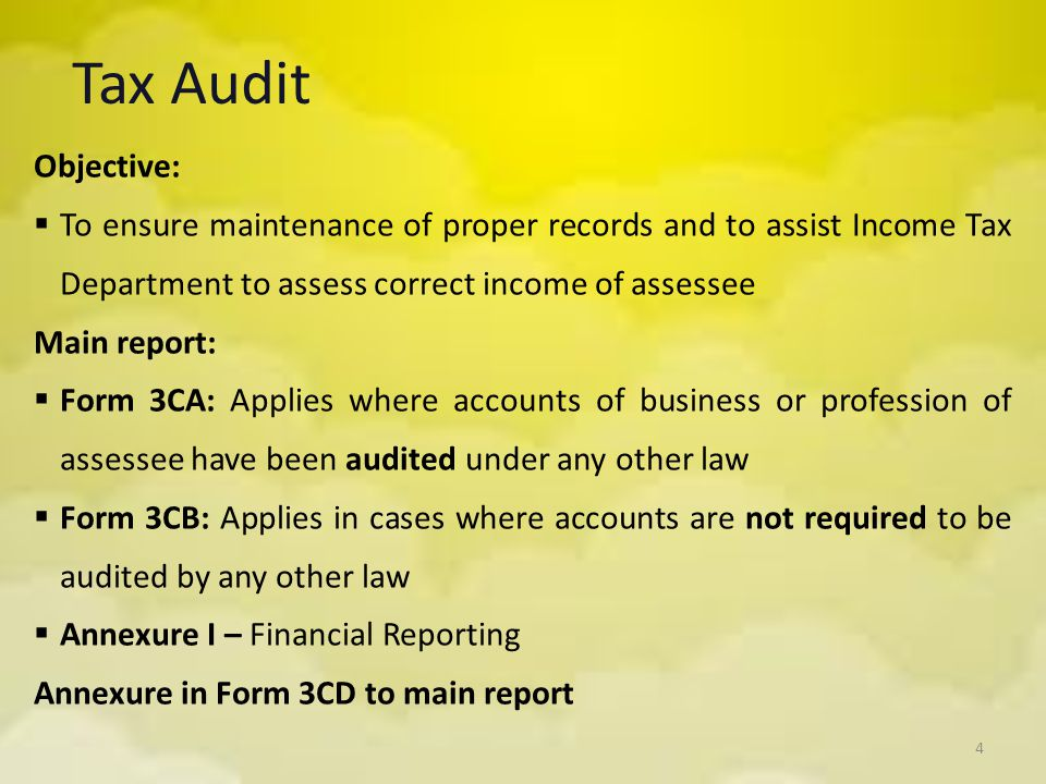 Amendments to Provisions of Tax Audit