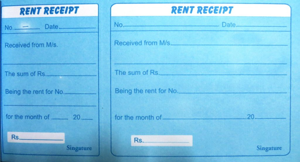 pg rent receipt format