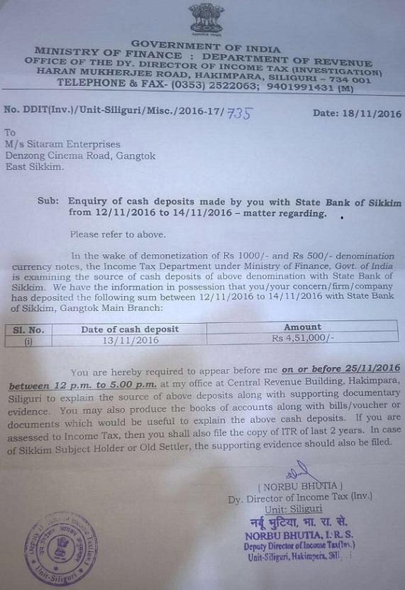 Notice from Income Tax Department
