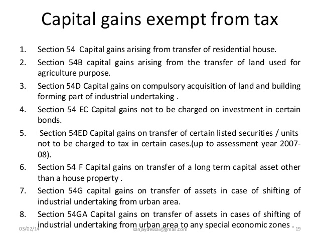 Capital Gains exempt from Income Tax
