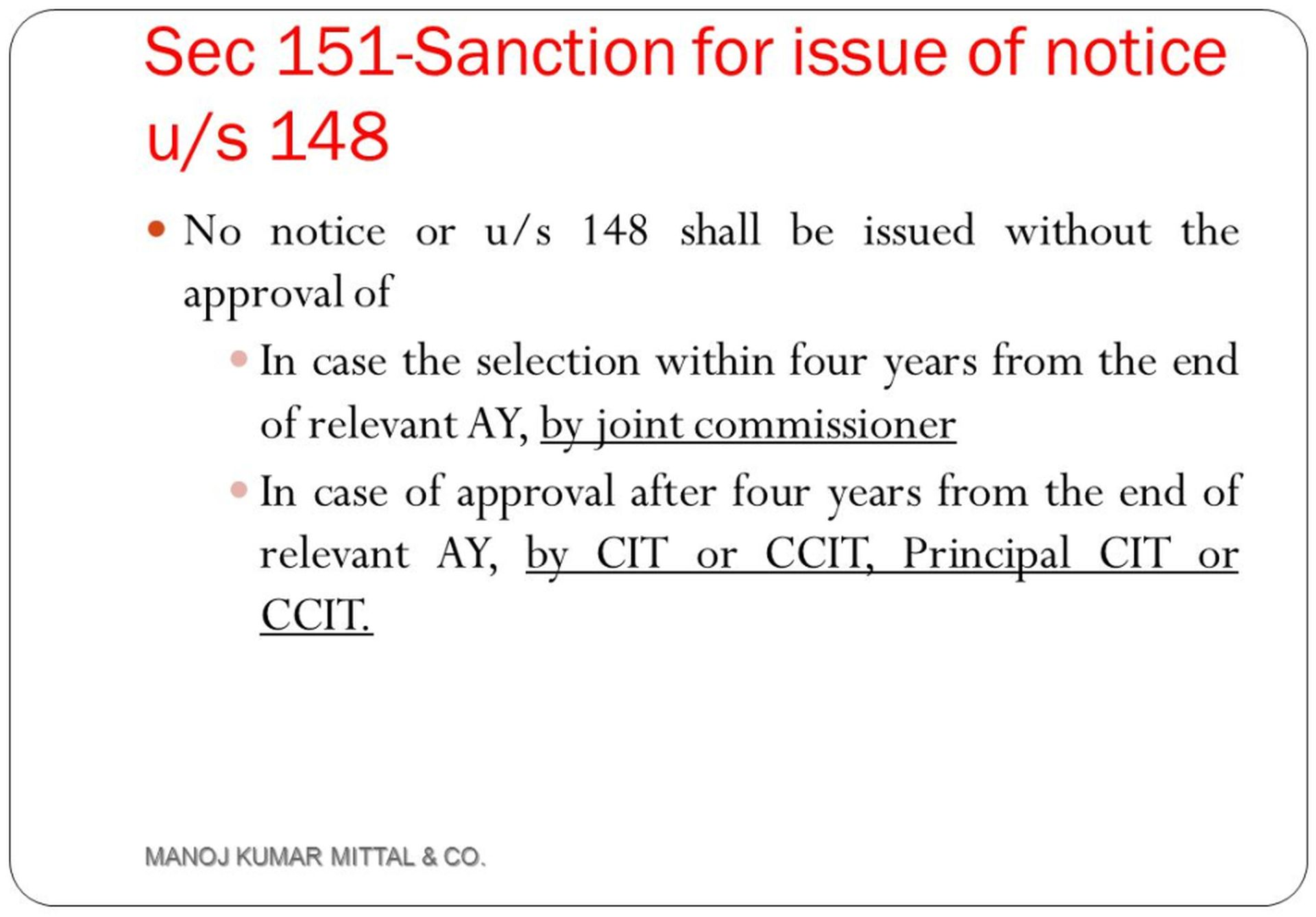 Notice under Section 148