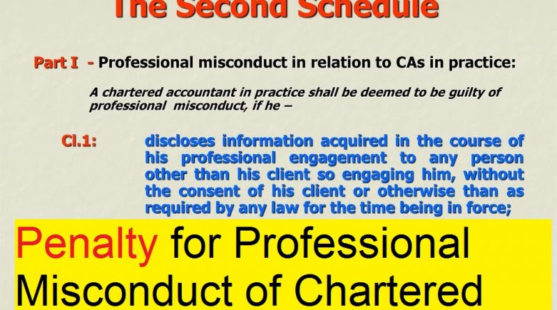 Penalty for Professional Misconduct of Chartered Accountants